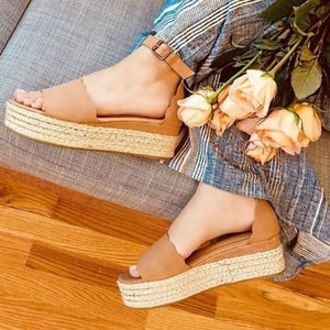 Shoes - HELLO SPRING Espadrille Wedges - CAMEL